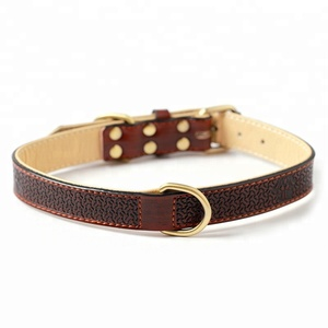 Custom Durable Luxury Leather Double D ring Decorative Dog Collar for Medium and Large Dog Locking Dog Collar