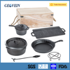 Camping outdoor high quality 7 pcs cast iron non stick accessory include 7 different cast iron kitchen tool