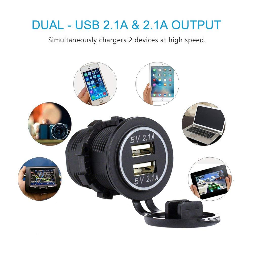Dual USB Port Phone Charger Holder Motorbike Waterproof Mobile Phone Motorcycle USB Charger