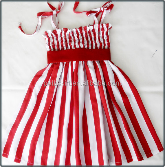 Fashion baby girls red and white stripes persnickety design summer dress 100% cotton
