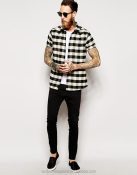 79e9bb71a775 Men's Black / White Check button Down Flannel short Sleeve shirts / fashion  loose fit pocket