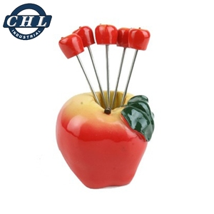 Personalized poly resin decorative christmas small fruit picks fork