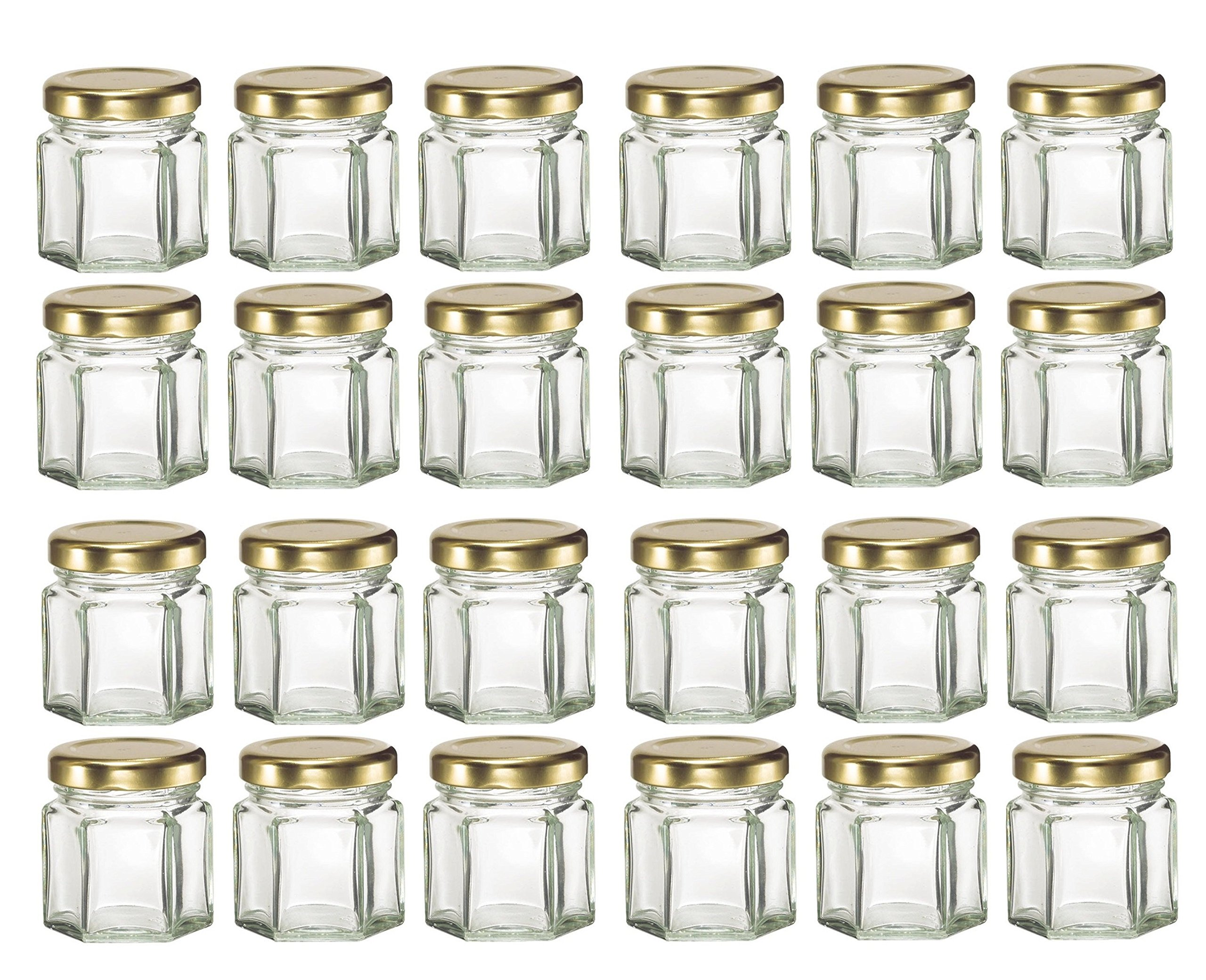 Nakpunar 24 pcs, 1.5 oz Mini Hexagon Glass Jars with Gold Plastisol Lined Lids