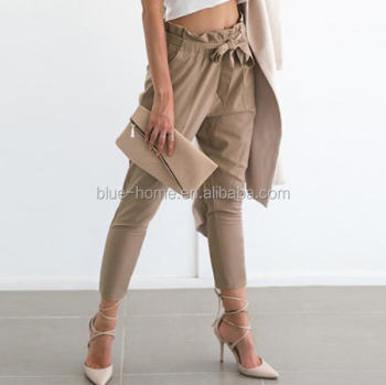 2019 New black trousers Apparel OL chiffon high waist harem pants Women stringyselvedge summer style casual female pants