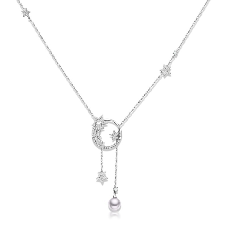 custom cz stone fashion new design pearl necklace