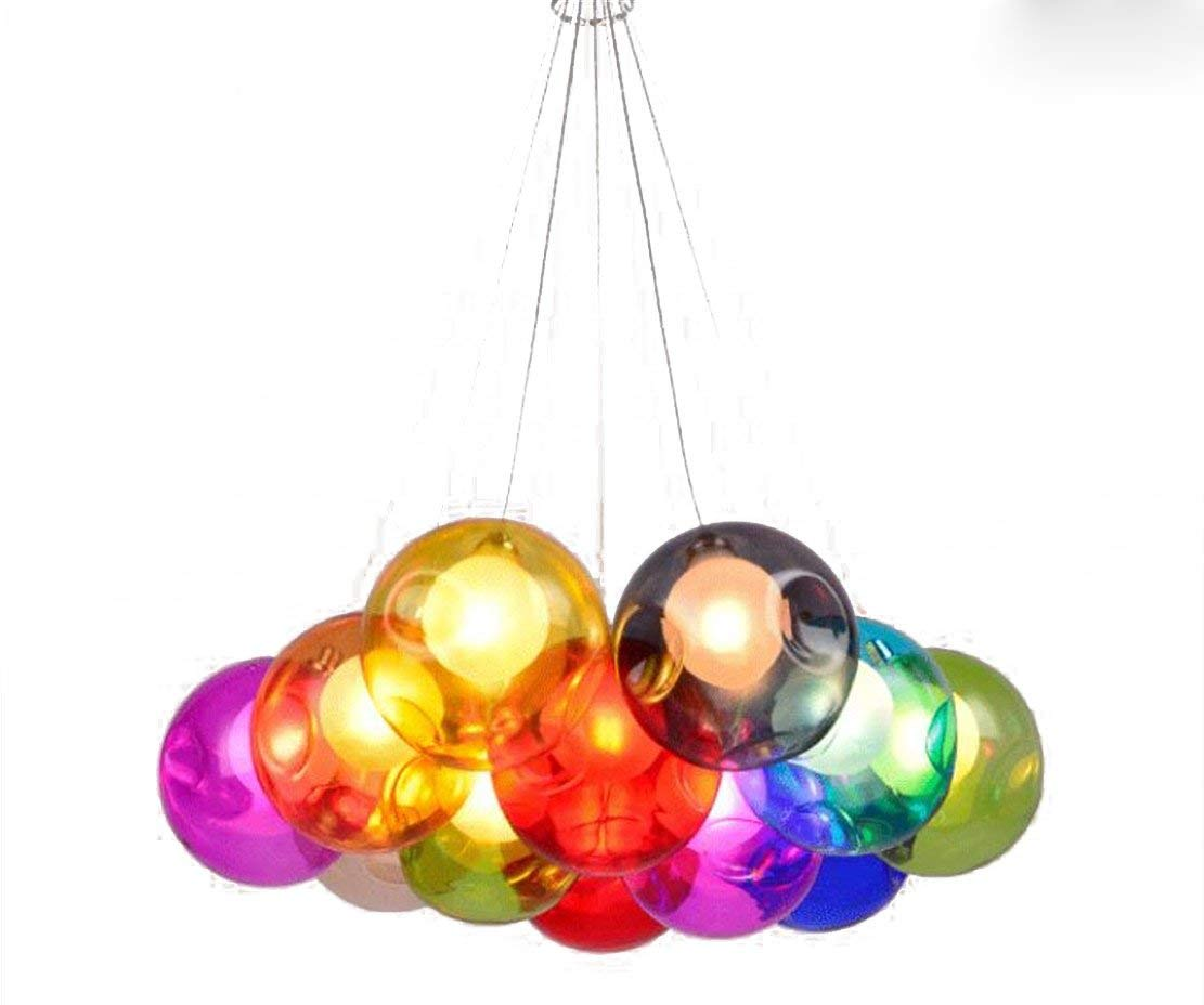 Get Quotations · Hanging Pendant Light Lighting Stained Glass Ball Lamps  Blown Clear Orb Chandelier Island Fixtures For Dining