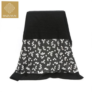 NEW Stylish Printed Hijab High Quality Cotton Shawls Floral Black Larger Size 180*55cm Scarf Hijab