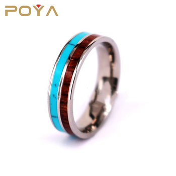 Poya joyería 6mm titanio Hawaiian Koa madera y turquesa inlay wedding band anillo