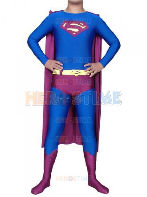 3c8b45c8249ea Halloween Blue   Purple Superman Costume Spandex Lycra Superhero cosplay  suit the classic superman superhero