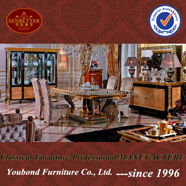 Wooden Carved Italian Dining Table Sets