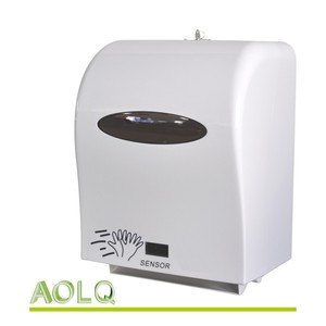 Commercial white plastic automatic sensor paper towel dispenser for kitchen,restaurant or bathroom