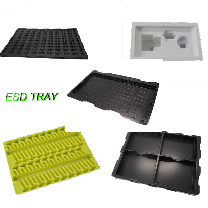Black PS antistatic plastic blister packaging tray for electronic parts