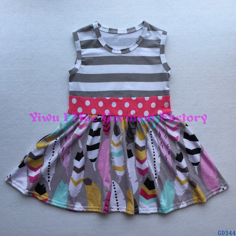 Latest Children Frocks Designs Western Little Girls Stripe Feather Print Cotton Dresses for Summer GD344