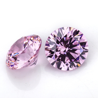 round European cut high quality cubic zirconia stones synthetic pink diamond