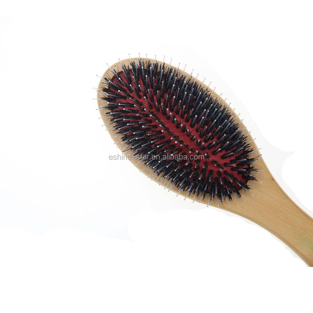 professional  boar bristle mixed nylon natural wooden oval and cushion hair brush