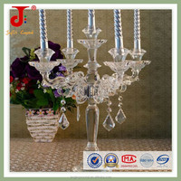Antique Clear Candle Holder 3 Arms/5 Arms Crystal Candelabra With Hanging Crystals For Wedding Centerpiece