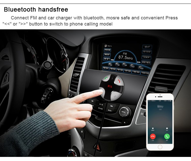 Magnetic Multi-function wireless Bluetooth car kit with car charger mp3 fm transmitter car holder Handsfree Calling