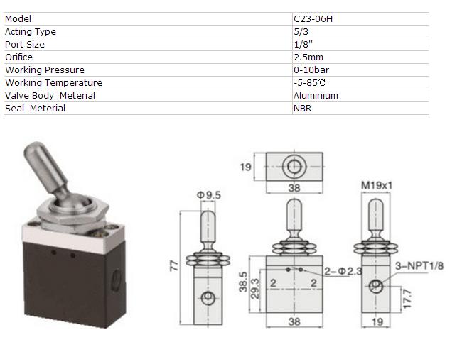 Autoair C23-06h Toggle Switch Valve 3 Position 5 Way Valves - Buy ...