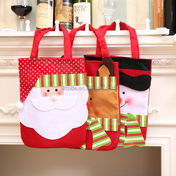stockings gift holders lovely santa claus snowman print christmas gift handbags decorative gift candy bags - Christmas Candy Bags