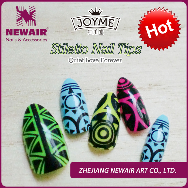 Nail Art Suppliers Pre Designed Acrylic Tips Colored Designs