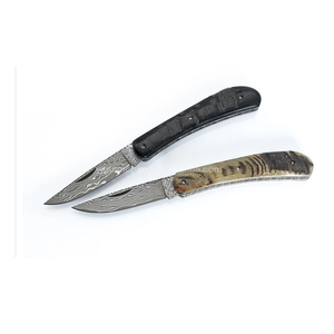 High quality horn handle camping back lock pocket knife damascus steel folding knife