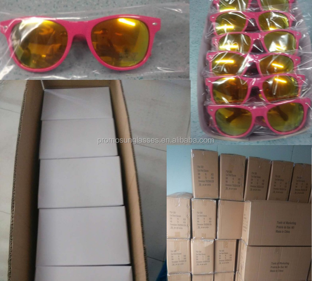 Plastic promo sunglasses with colorful mirror lens, very hot sell in market, which can print customer logos on arms UV400 lens