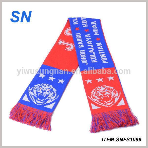 Newest custom acrylic sport fan scarf for football