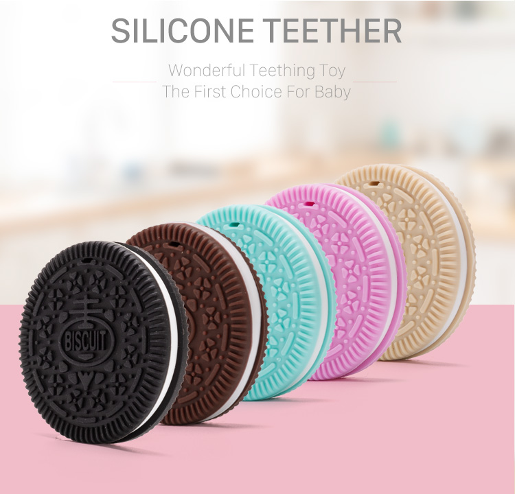 FDA Approval BPA Free Silicone Baby Soft Cookie Teether Biscuit Wholesale Silicone Baby