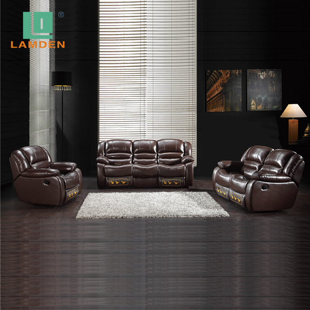 Italian Design Living Room Furniture Brown Color Leather Recliner Sofa Set