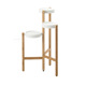New 3 Group Bamboo Base White Metal Plant Stands