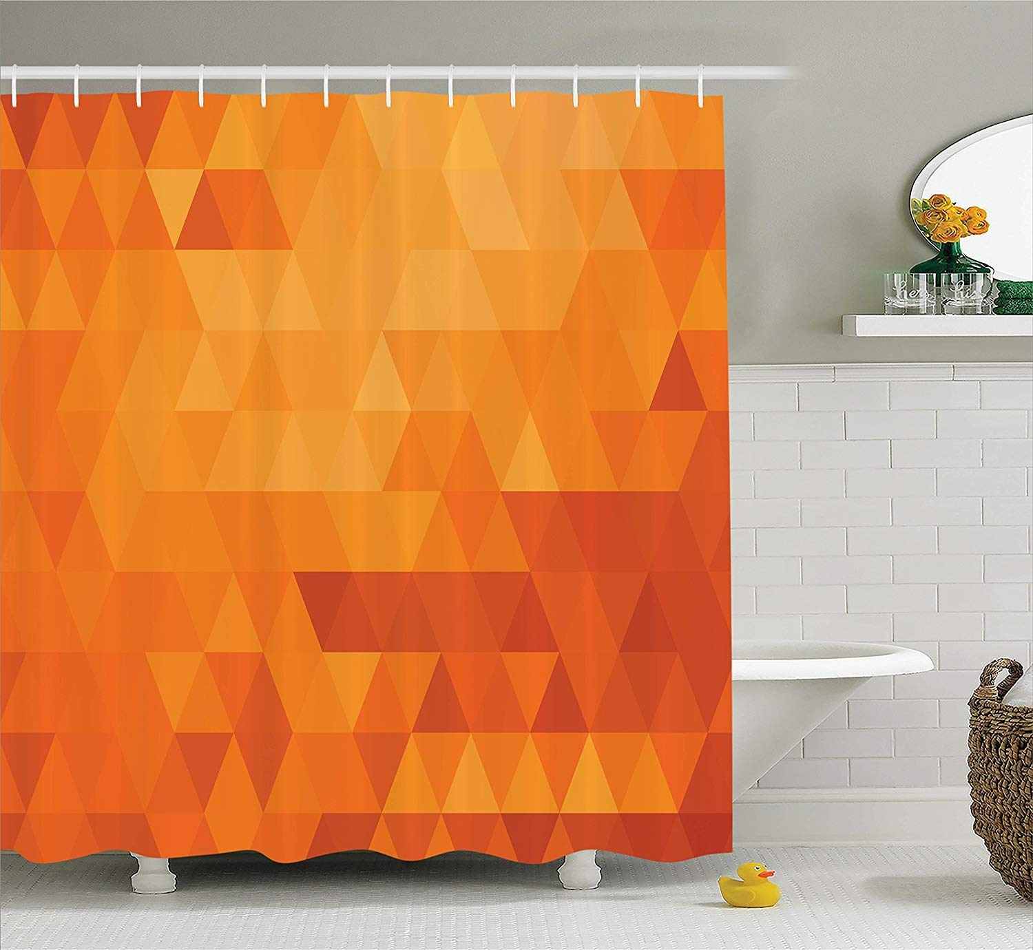 bag pack home Burnt Orange Decor Shower Curtain Set, Triangle Mosaic Shaded Shapes And Patterns Abstract Digital Pixel Decorative Home, Bathroom Accessories, Burnt Orange 60X72 Inch