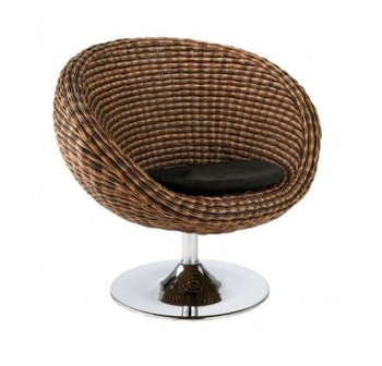 Modern Rattan Seagrass Swivel Chair With Chrome Base Brown Cushion Wood  Home Office Patio Furniture