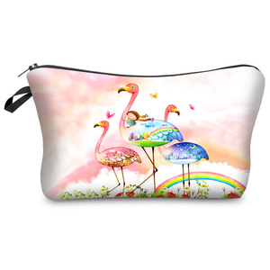 Zogifts 2018 hot selling fashion colorful wholesale custom lady flamingo makeup pouch travel cosmetic bag