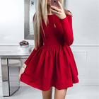 Summer Dress New Fashion Women Long Sleeve Solid Ball Gown Casual Dress O-Neck Cute Mini Party Dresses