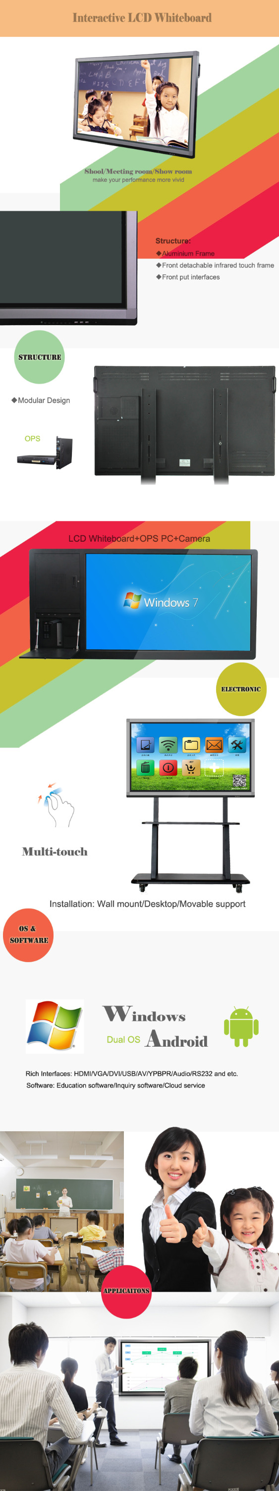75 inch interactive whiteboard smart tv