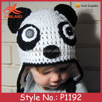 P1192 Oem Cute Handmade Knitted Animal Panda Winter Child Hat ...