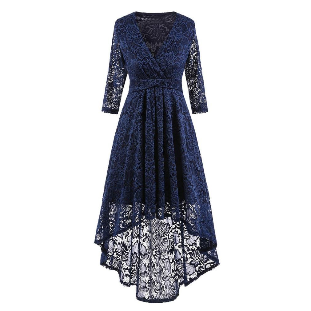 Women Long Dress Daoroka Women's Sexy V-Neck New Vintage Half Sleeve Formal Patchwork Wedding Dress Cocktail Retro Swing Evening Party Skirt Ladies Casual Fashion Gift Fit Mid-Calf Dress (M, Navy)