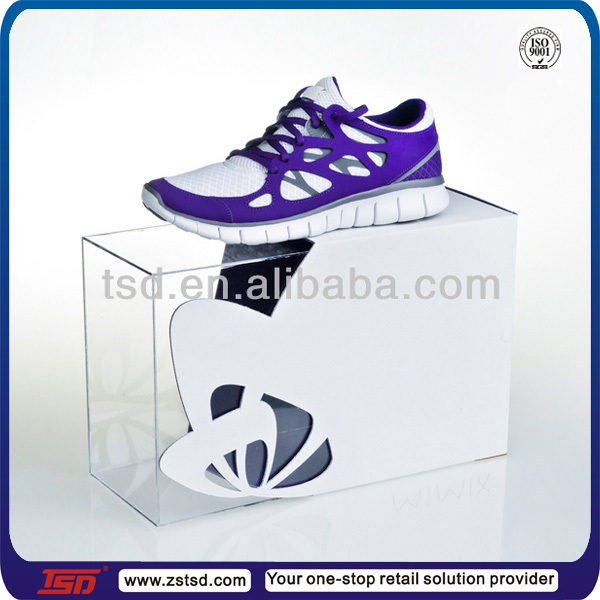 TSD-A207 factory custom clear acrylic shoe display case/decoration shoe shop/shoes showcase designs