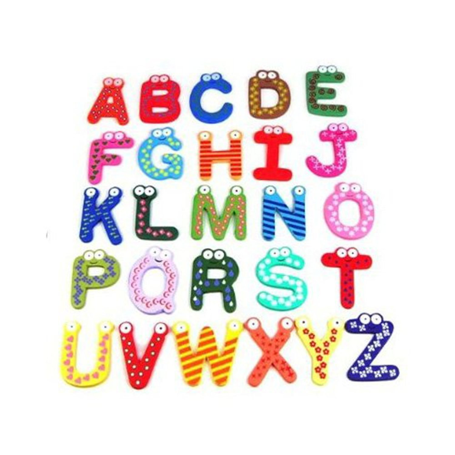 iecool Funky Fun Colorful Magnetic Letters A-Z Wooden Fridge Magnets Kid Toys Education