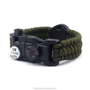 Military wholesale Custom logo 5 in 1 metal charms survival 550 paracord bracelet