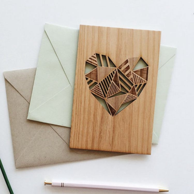laser cut geometric heart wood love card