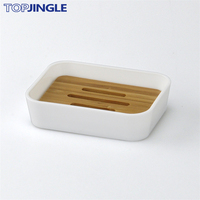 Special Wood Design Rectangle Plastic Soap Holder with Bamboo Tray