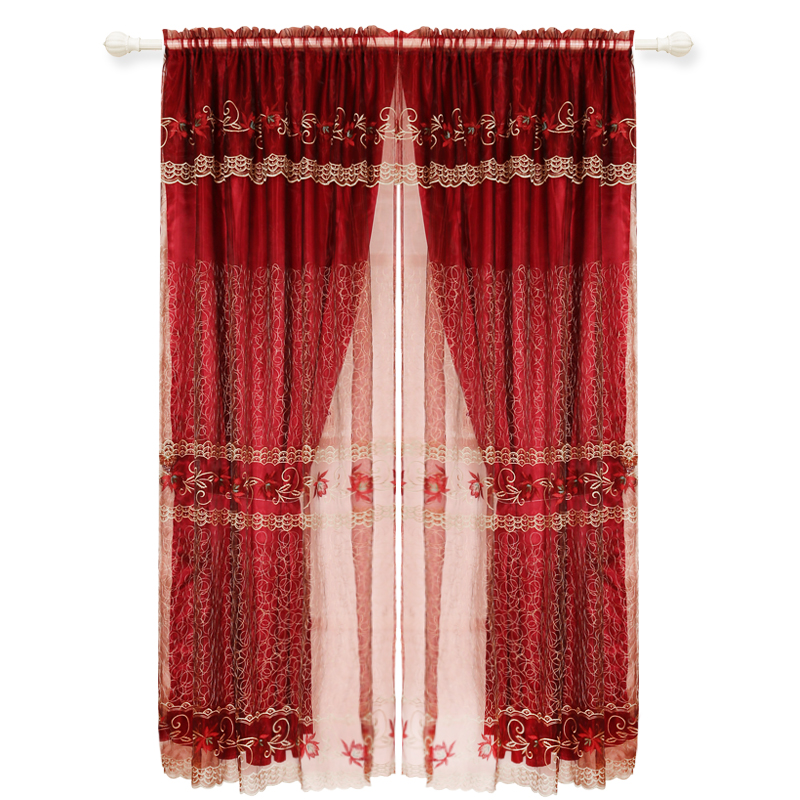 Luxury Nice Embroidery Two Layer Voile Curtain Living Room Curtain Material Fabric India 100% Polyester Flat Window Hotel Office