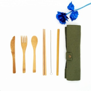 WanuoCraft Bamboo Utensils Cutlery Set For Travel , Outdoor Camping, Picnics and Office Lunch Box