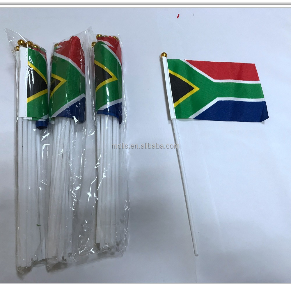 Cheap stock 10*15cm 4*6inches South African hand flag with plastic pole