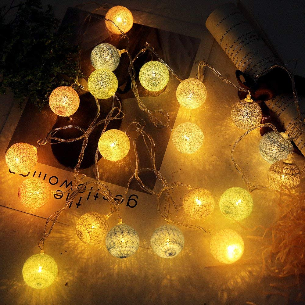 Tuscom 20 LED Macarons Color Cotton Ball Lights String |Bedroom Home Decor |Wedding Ceremony Dinner Party Decoration Atmosphere Night Light (A)