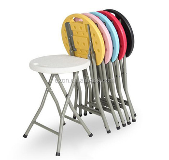 Portable Outdoor Plastic Folding Stools Kids Beach Round