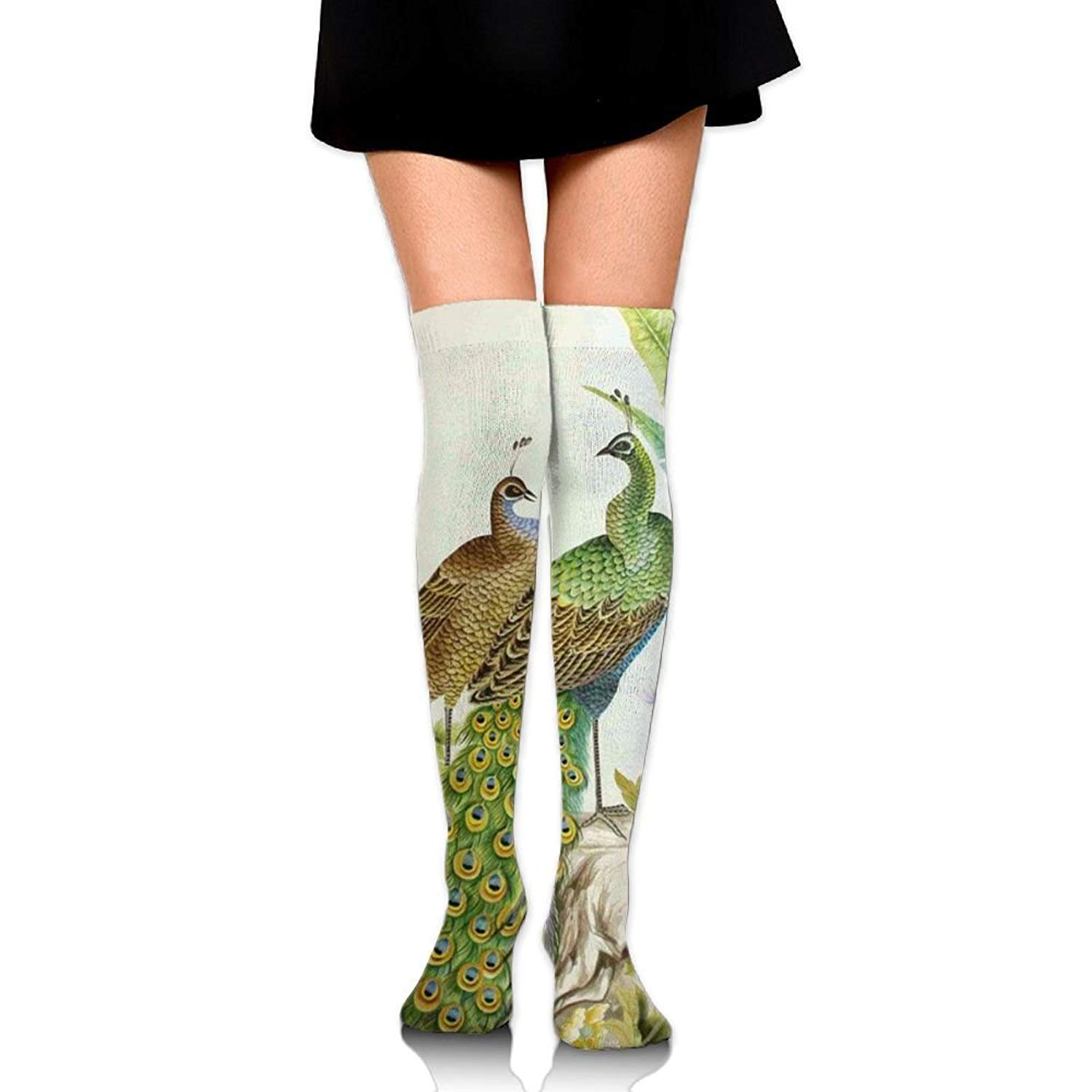 Zaqxsw Peacock Animal Women Cool Thigh High Socks Thermal Socks For Womens