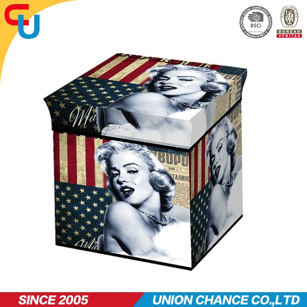 beautiful full printed cube storage ottoman for shoes