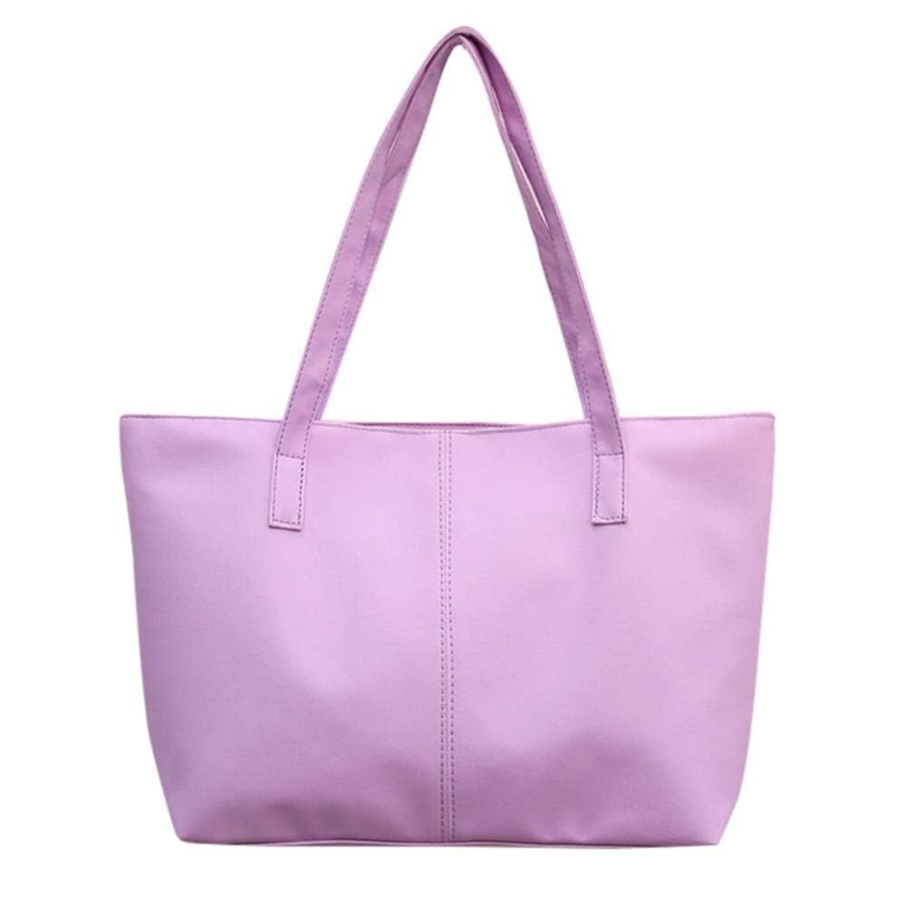 Outsta Ladies Leather Shoulder Bag Pure Color,Women Celebrity Tote Purse Large Messenger Bag Coin Bag Phone Bag Travel Backpack Classic Basic Casual Daypack (Purple)